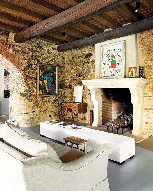 Rustic Contemporary Living Room Green: Rustic But Modern Living In 12th Century Oil Mill