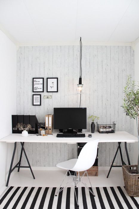 Black And White Simple Home Office Space