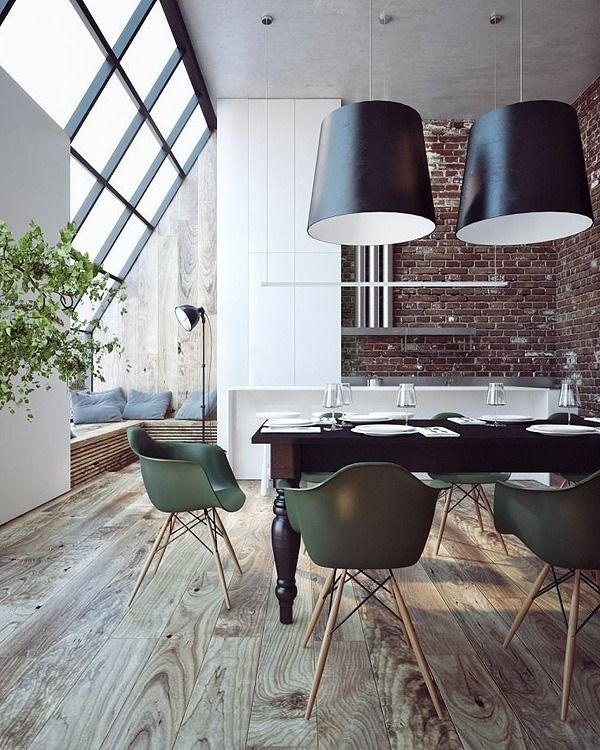 Modern dining room loft space