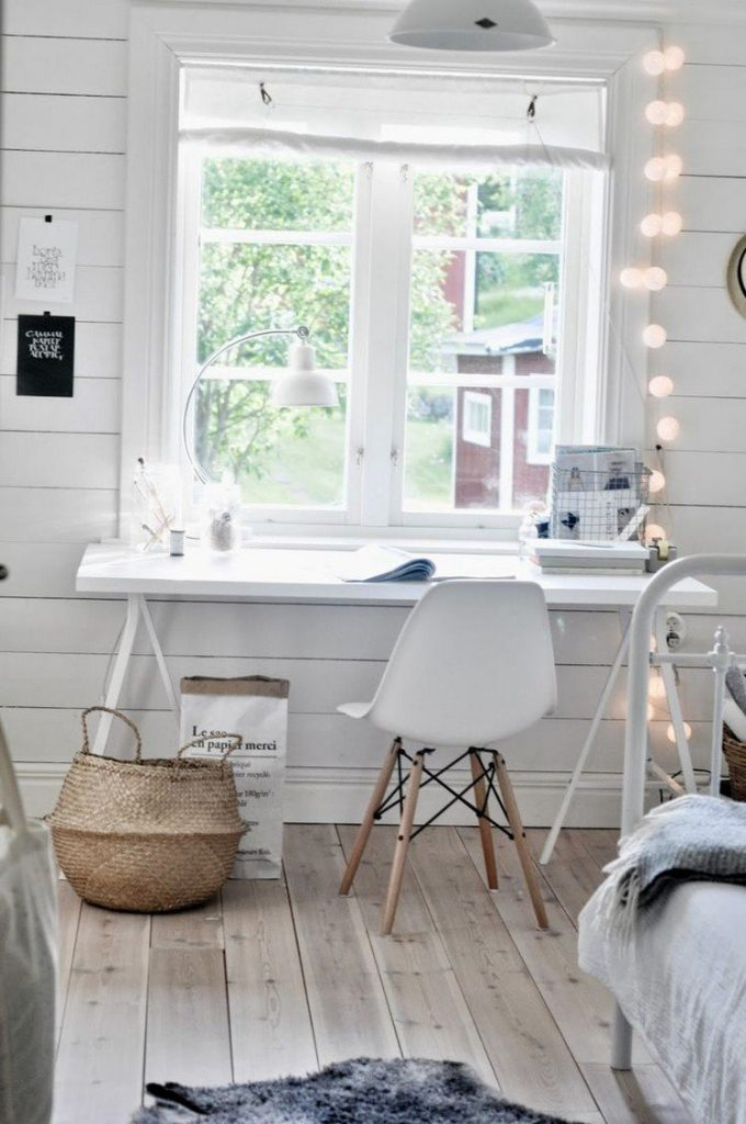 light bulb decoration in this minimalist home workspace 680x1024 Home Office: How To Create A Scandinavian Feeling