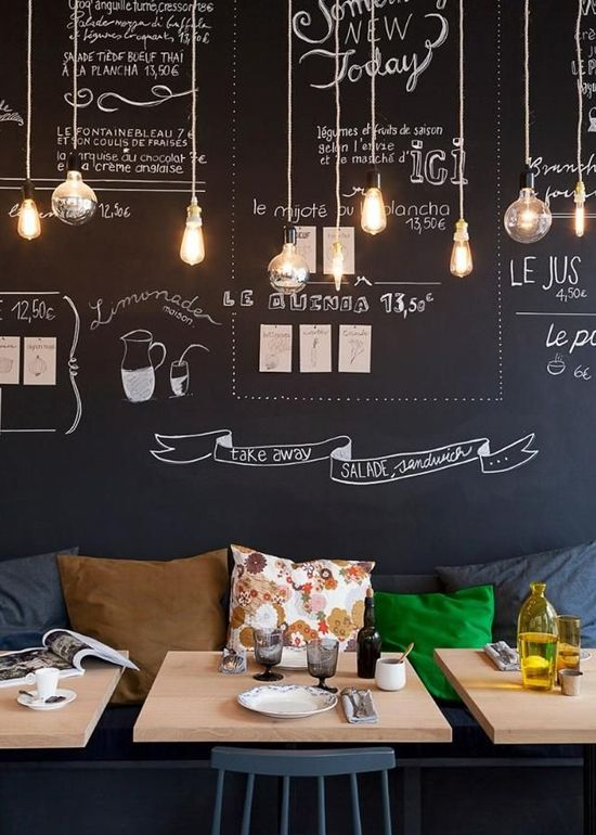 blackboard wall in restaurant 32 Chalkboard Decor Ideas