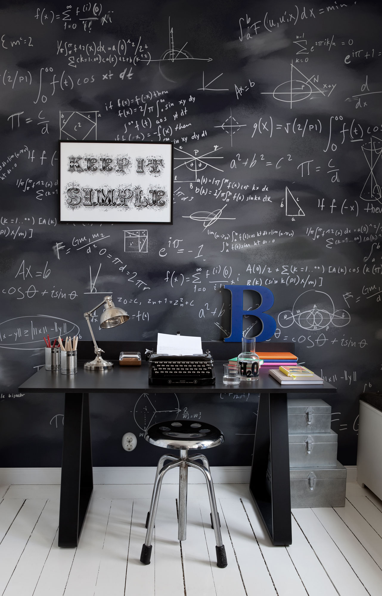 blackboard workspace wall 32 Chalkboard Decor Ideas