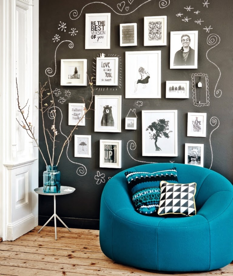 chalkboard decorated wall 32 Chalkboard Decor Ideas
