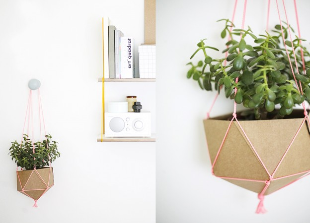 diy planter can be crafted out of cardboard and colorful string 25 Indoor Garden Ideas