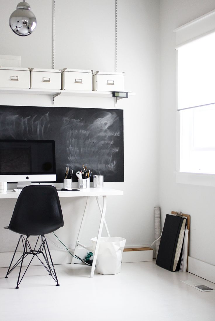minimal workspace blackboard 32 Chalkboard Decor Ideas