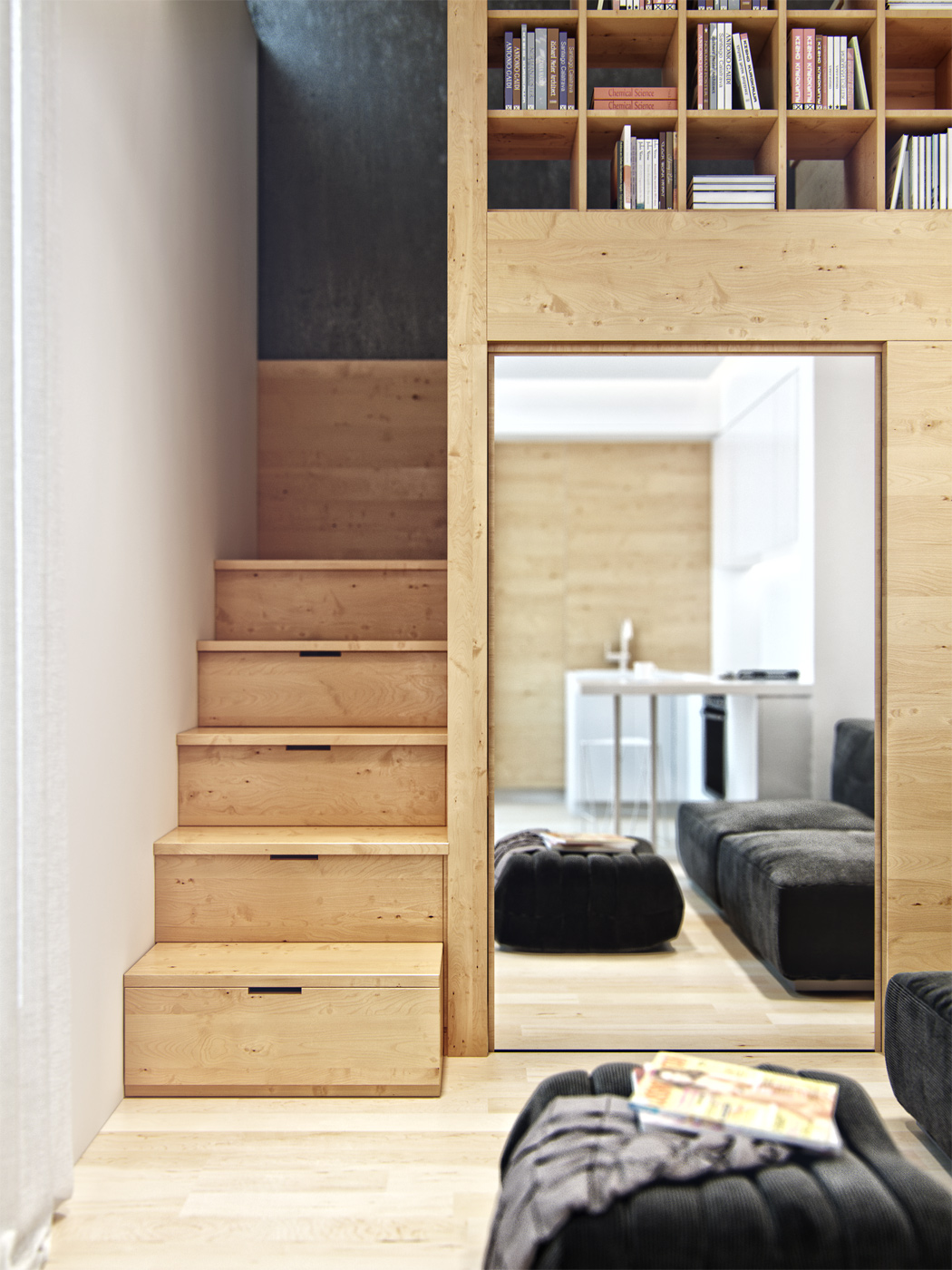 residential house reconstruction with addition of a mansard floor 13 Tiny Loft Space Apartment