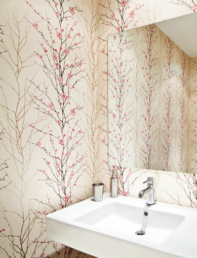 cherry blossom modern powder room 50+ Floral Wallpaper and Mural Ideas
