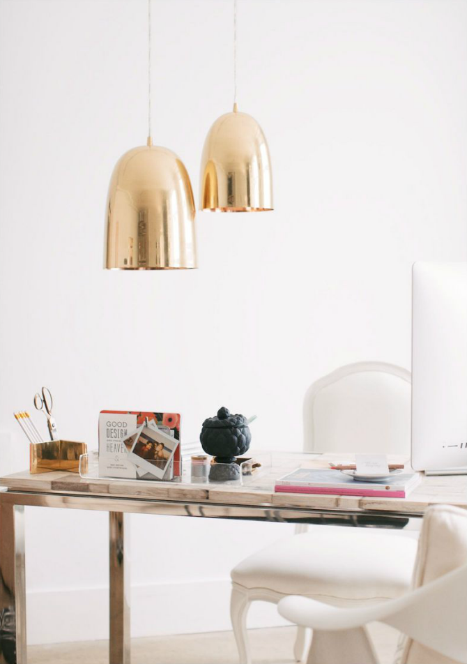 white and gold Creating Inspiring Workspace