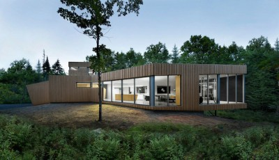 A Minimal Wooden House Reflects The Flow Of The River