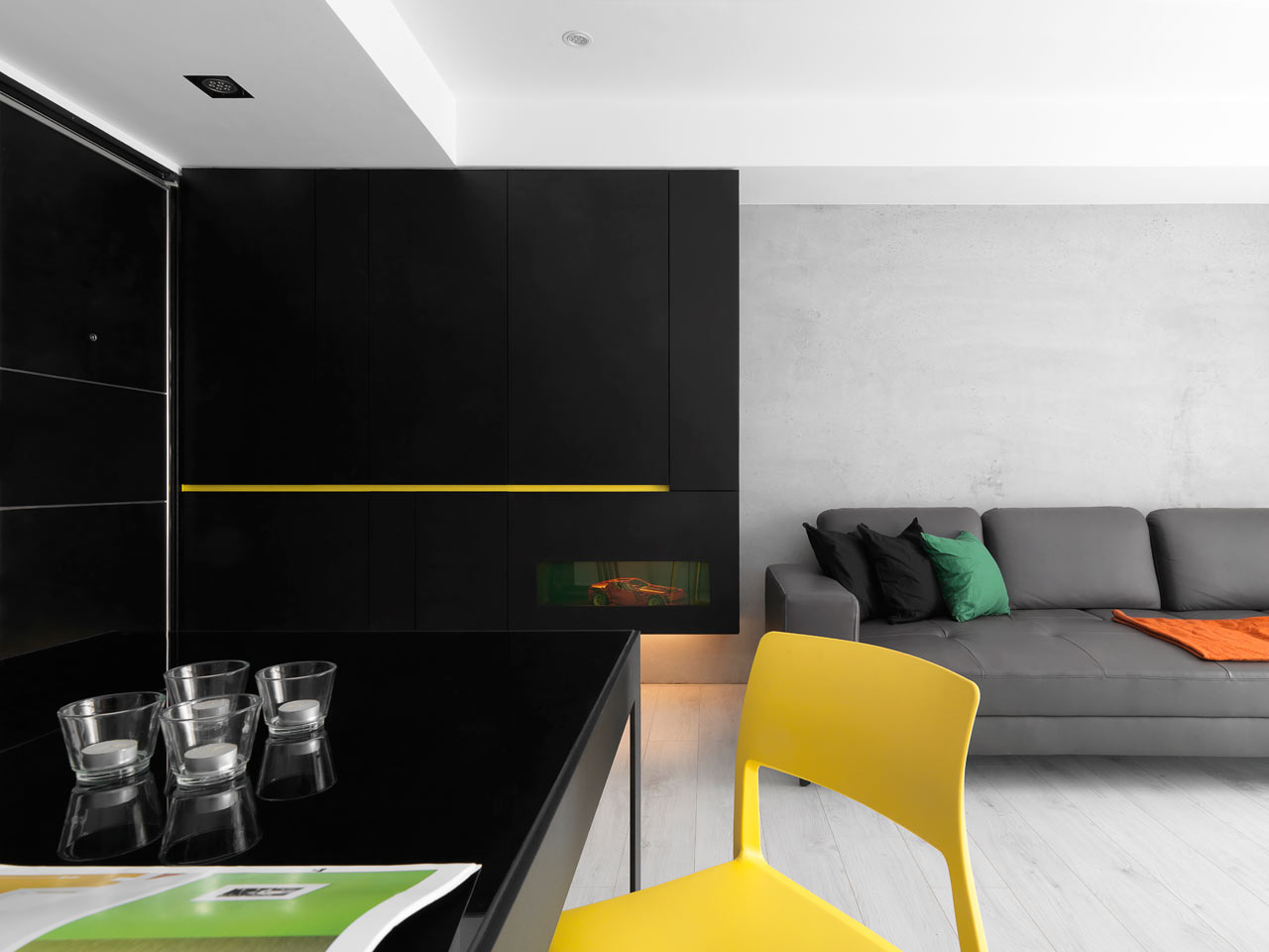 taichung h residence Modern Apartment with Bright Yellow Accents