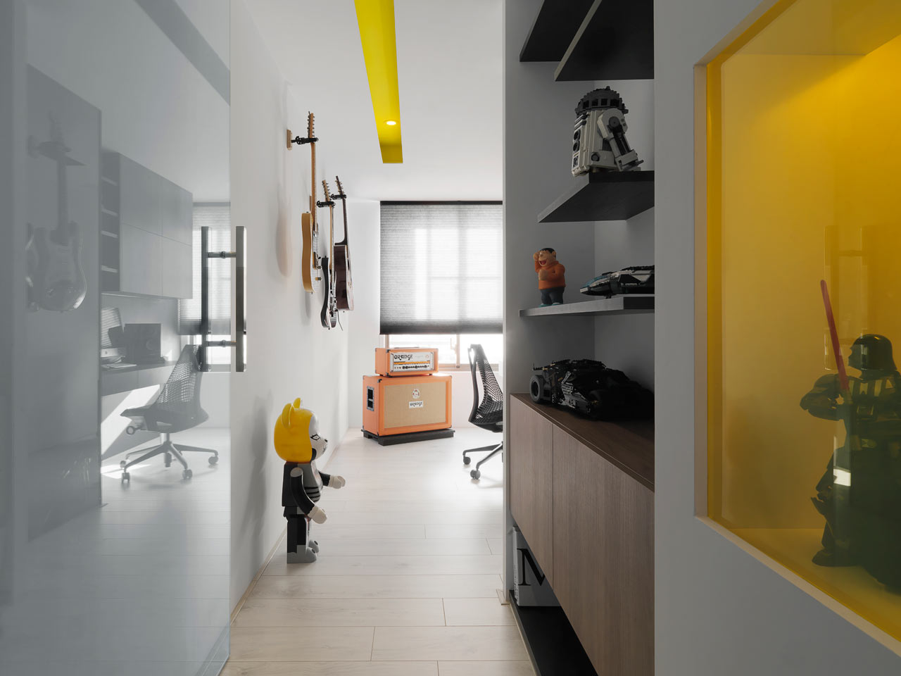 taichung h residence10 Modern Apartment with Bright Yellow Accents