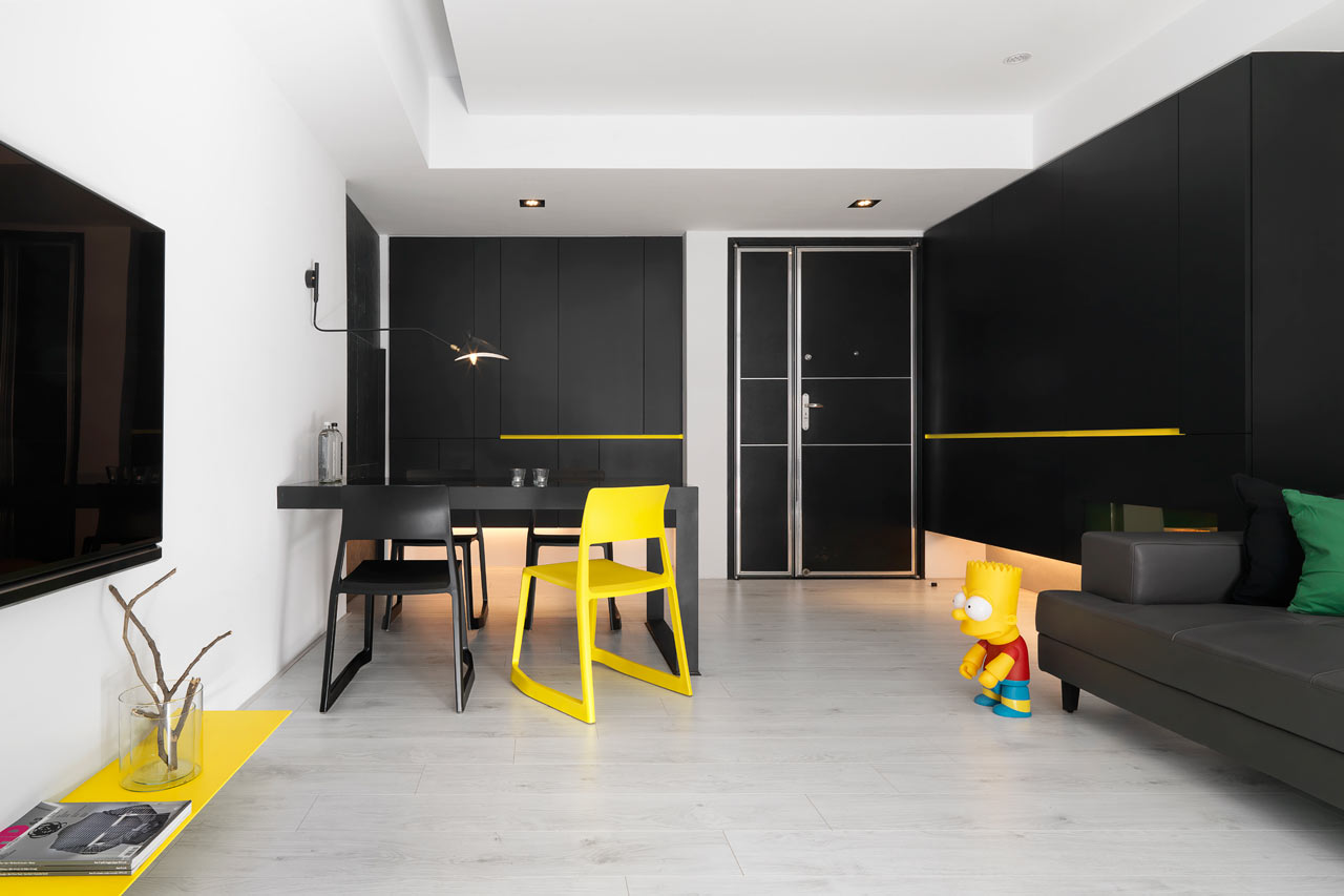 taichung h residence8 Modern Apartment with Bright Yellow Accents