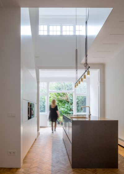 Herringbone Parquet was used in this Dutch Townhouse Renovation by Antonia Reif
