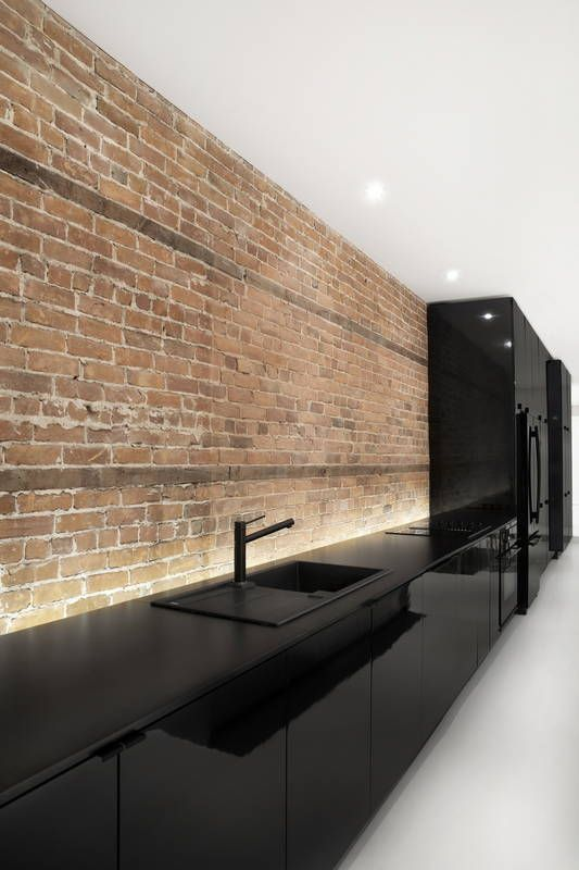 black kitchen with exposed brick wall Dream kitchens   a collection of 35 most beautiful kitchens