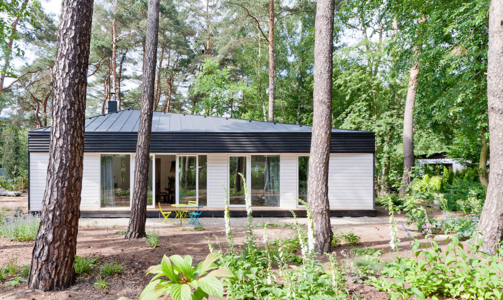Contemporary black cabin in the German woods