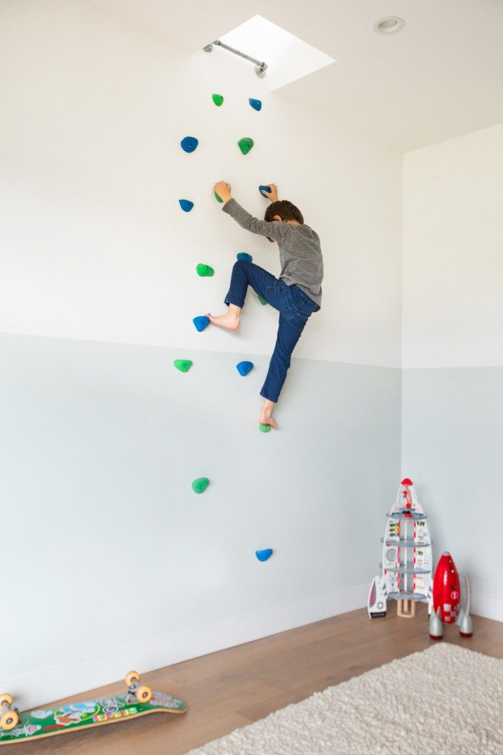 climbing wall that leads to the living