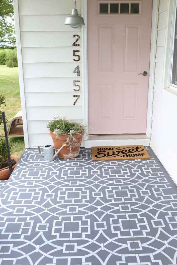 painted cement floor using a stencil to create a cement tile look Exterior perfection   how to make the perfect garden space