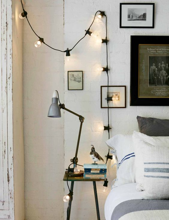 string lights Bedroom Improvements On A Budget