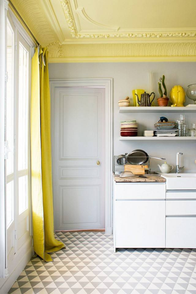 yellow painted ceiling 8 Low Cost Ideas for Creating a Unique Home Interior