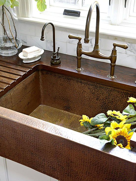 hammered copper sink and wood countertop Why a copper sink is well worth buying