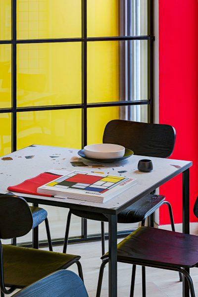 Bauhaus and Piet Mondrian inspired restaurant interior in Vilnius