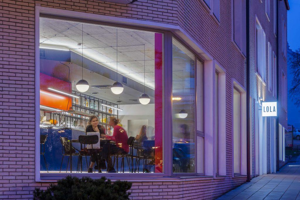 %name Bauhaus and Piet Mondrian inspired restaurant interior in Vilnius