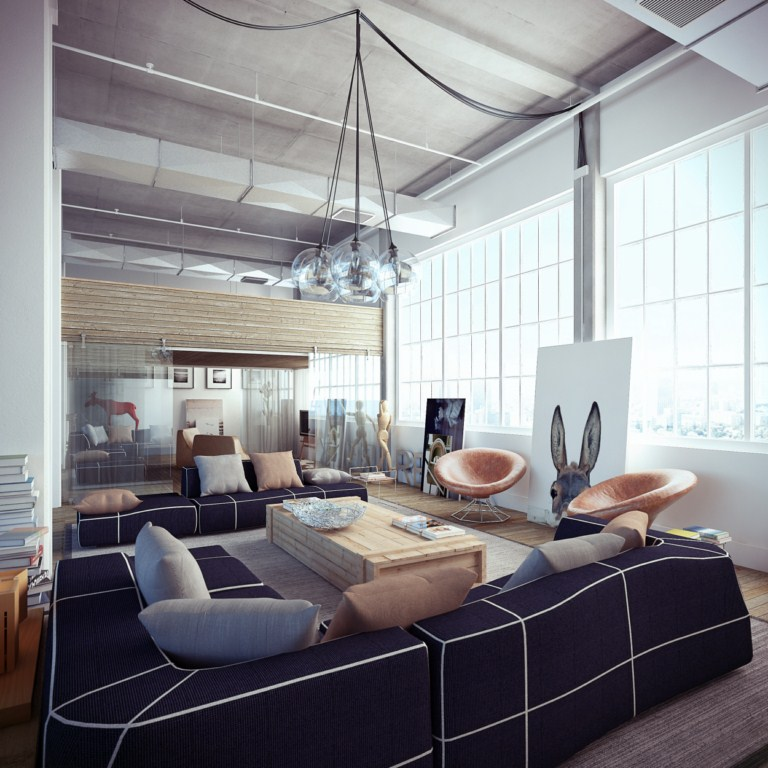 industrial1 Loft: Friendship Between Wood, Silver and Glass