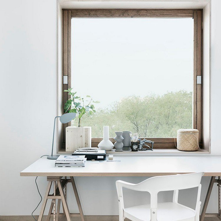 beautiful view over the window and pastel colors Home Office: How To Create A Scandinavian Feeling