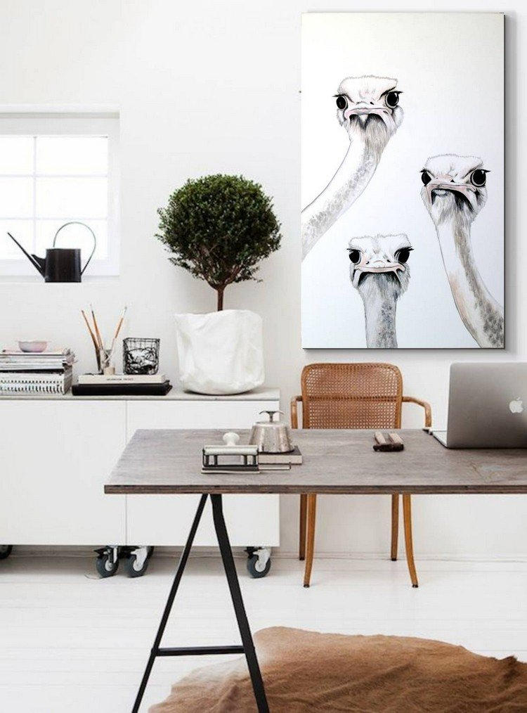 scandinavian home office with ostrich painting Home Office: How To Create A Scandinavian Feeling