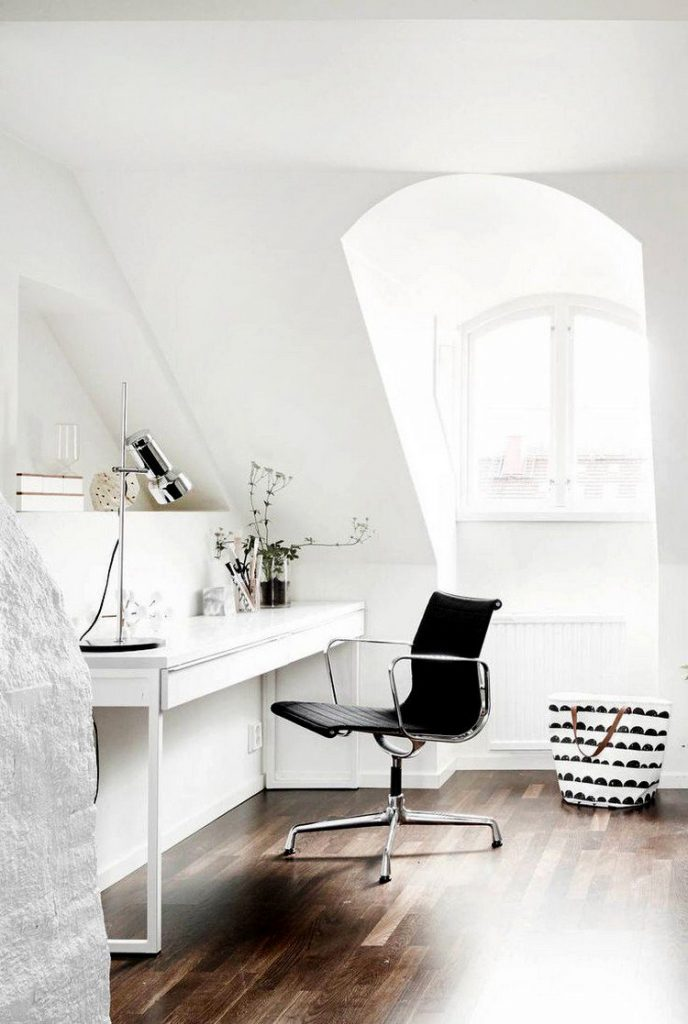 white scandinavian home office with brown parquet 688x1024 Home Office: How To Create A Scandinavian Feeling