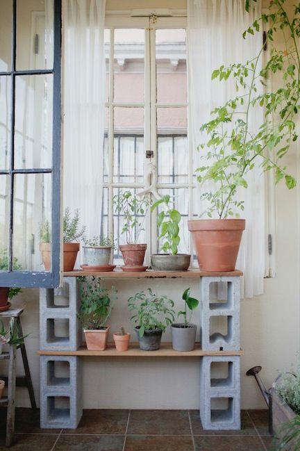 cinder block garden shelf 25 Indoor Garden Ideas