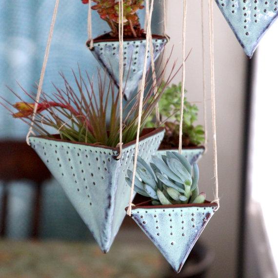 geometric hanging planters 25 Indoor Garden Ideas