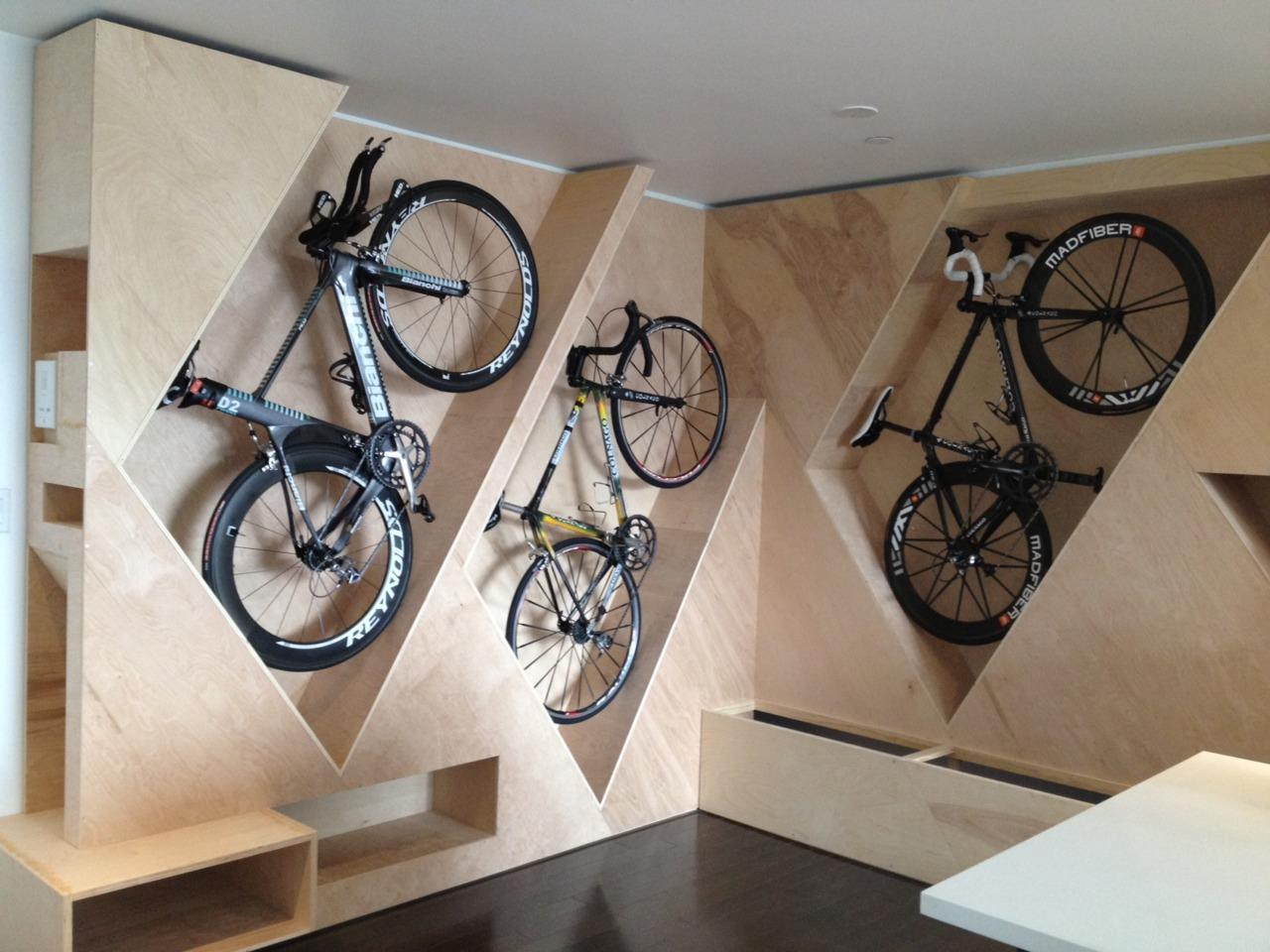 geometric wooden shelves Bike Storage Ideas: 30 Creative Ways of Storing Bike Inside your Home