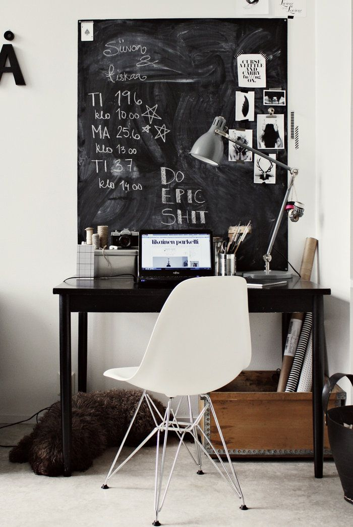 workspace chalkboard 32 Chalkboard Decor Ideas