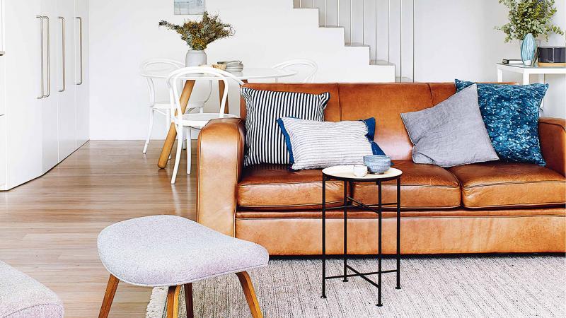 dec benn modern hme leather lounge living room cushions 20150211144608q75dx800y u1r1g0 Warm and Lively Australian Home