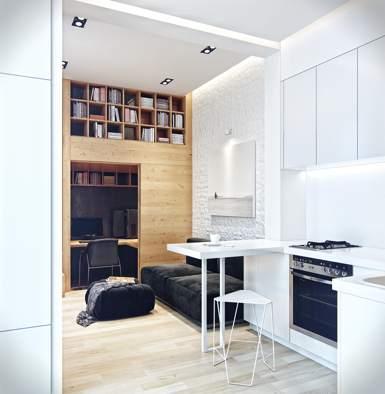 residential house reconstruction with addition of a mansard floor 11 Tiny Loft Space Apartment