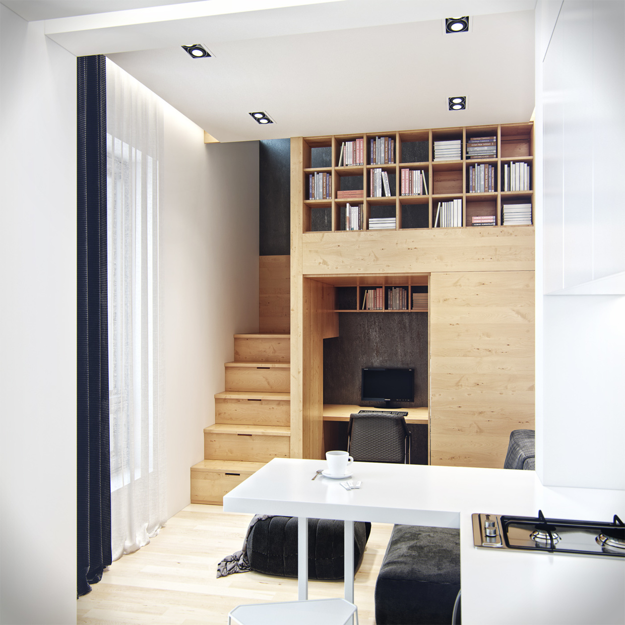 residential house reconstruction with addition of a mansard floor 12 Tiny Loft Space Apartment