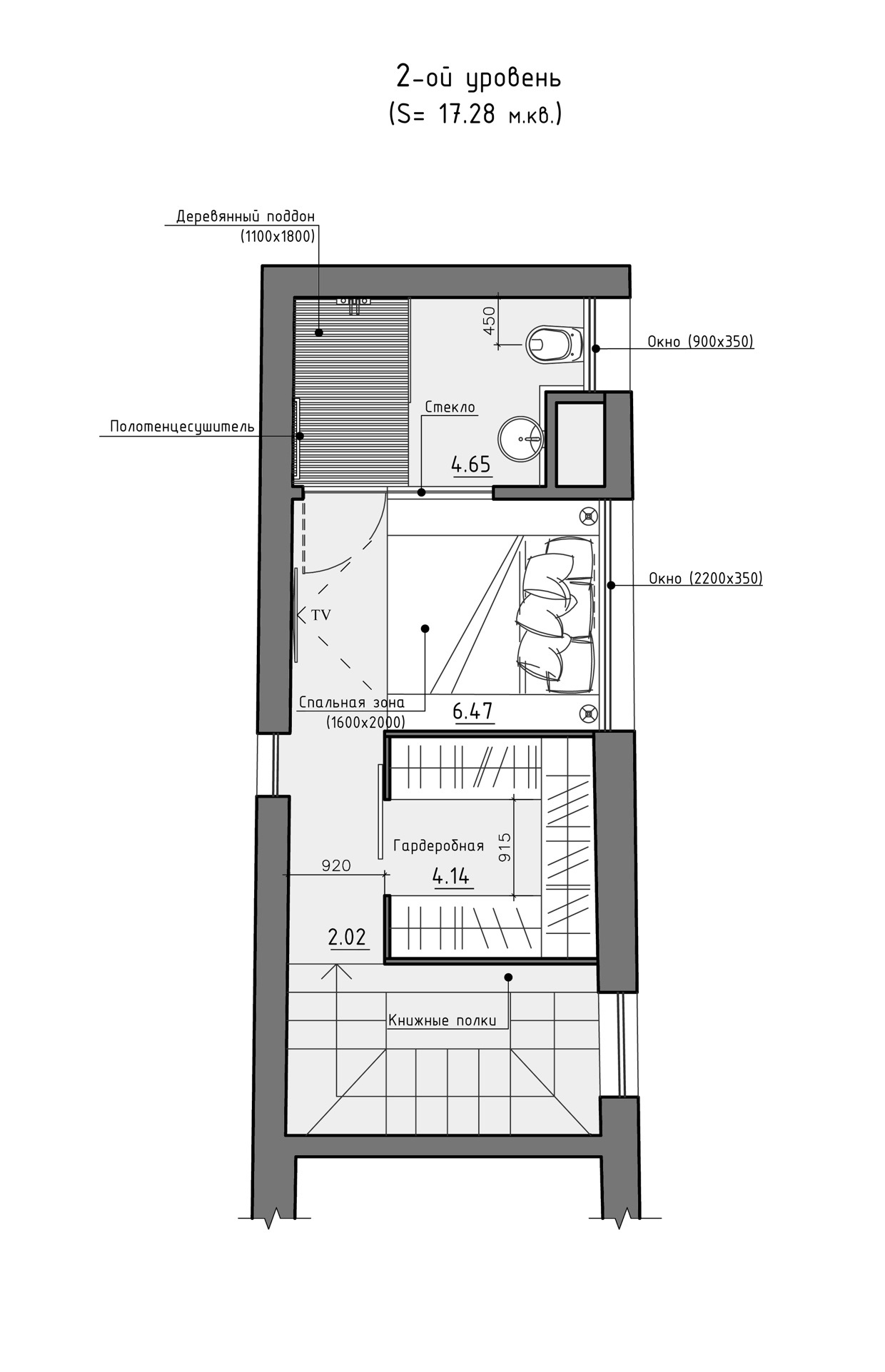 residential house reconstruction with addition of a mansard floor plan 9 Tiny Loft Space Apartment