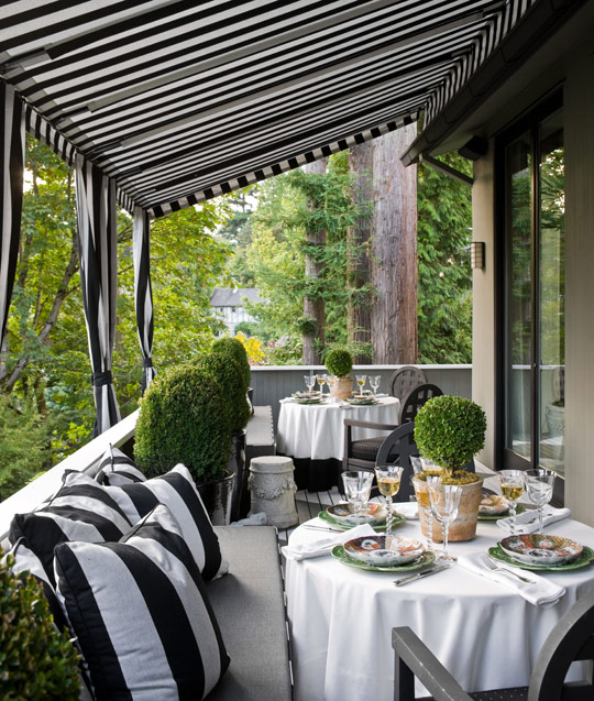 outdoor decor black white stripes dining glamorous gazebo pagoda Black and White Deck Design
