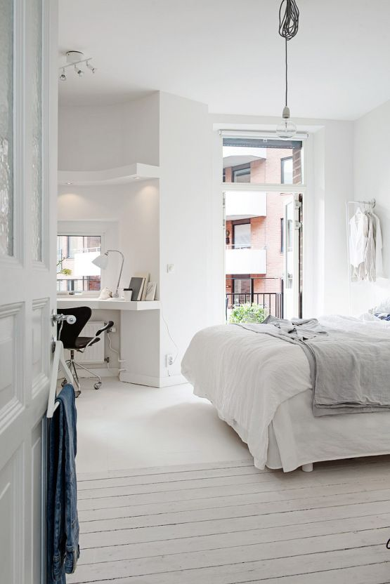 white nordic bedroom interior 50 Awesome Bedroom Ideas
