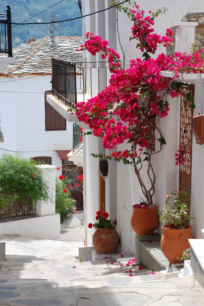 balcony with flowers in greece 35 Worlds Most Beautiful Balconies