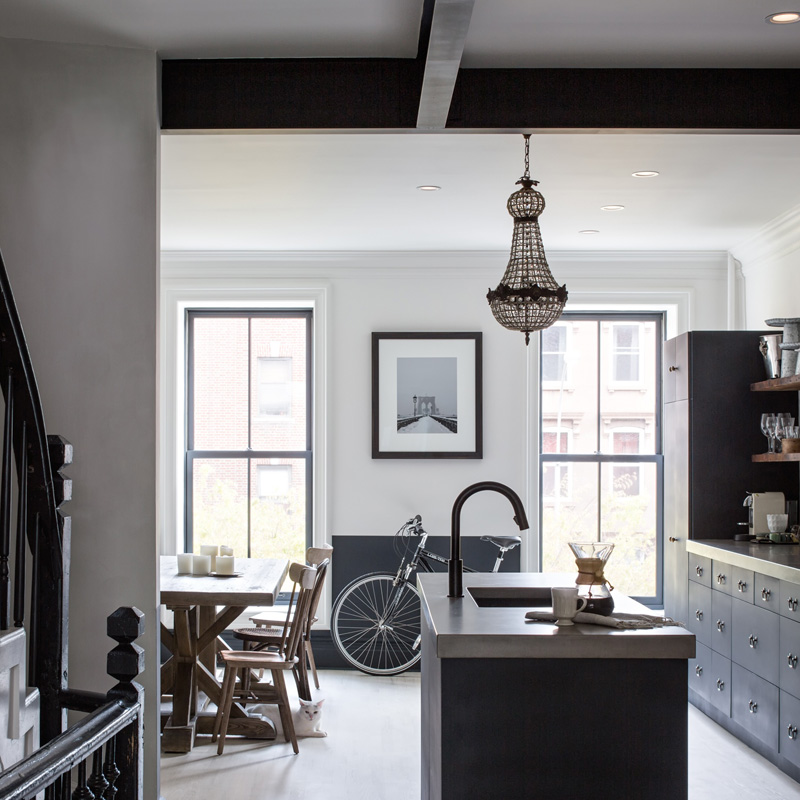 kitchen dining room Moody Navy in a Brooklyn Townhouse