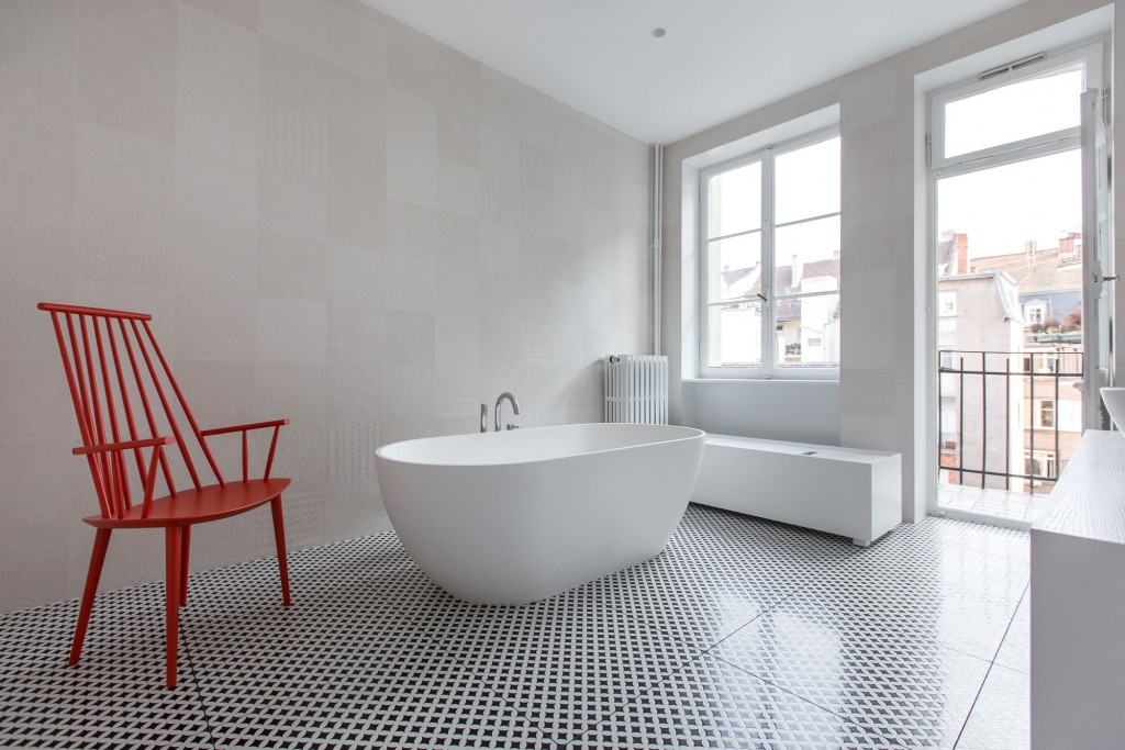 colorful furniture added to apartment in strasbourg by ycl studio 5 1024x683 Boost Your Bathrooms Beauty: How to Choose the Perfect Bathtub