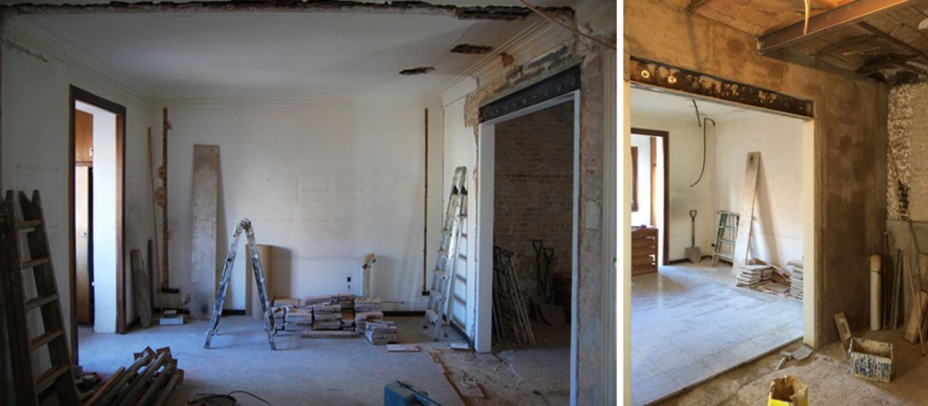 casp renovation progress 1 1024x448 Minimal Apartment Renovation In Barcelona