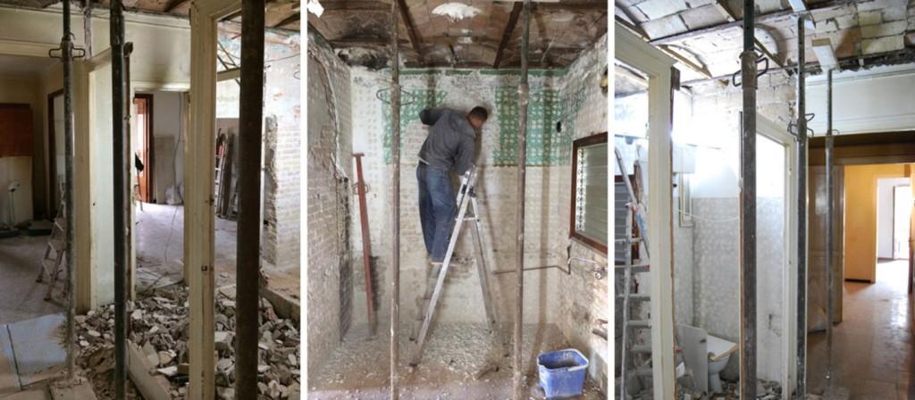 casp renovation progress 1024x448 Minimal Apartment Renovation In Barcelona
