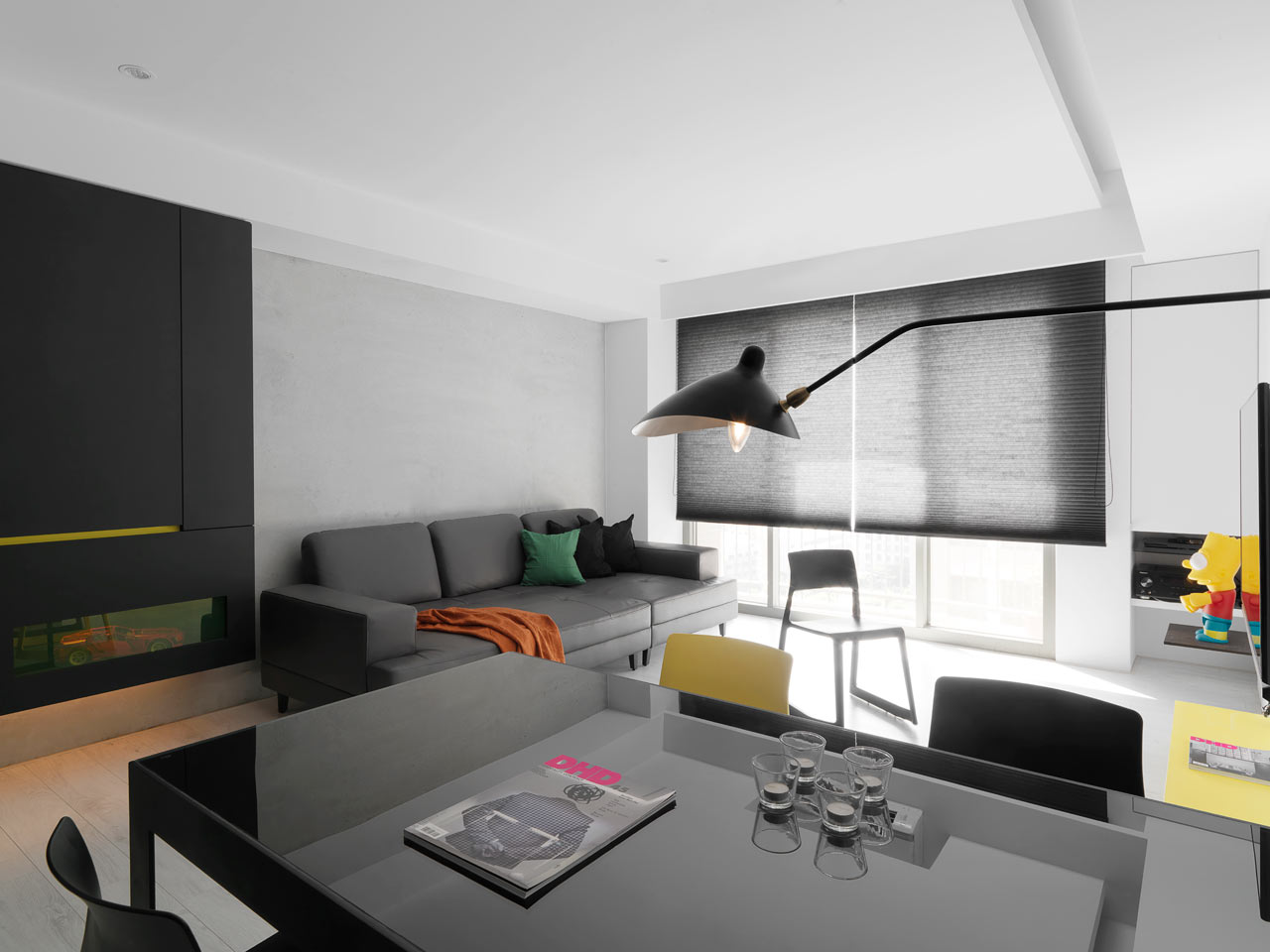 taichung h residence7 Modern Apartment with Bright Yellow Accents