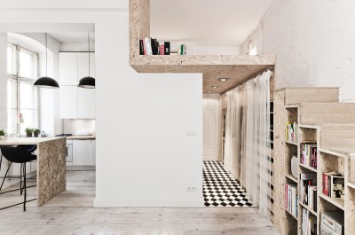 OSB Was Used To Build a Mezzanine in This Tiny 29m² Apartment