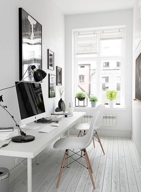 white and spacious home office Setting Up a Home Office