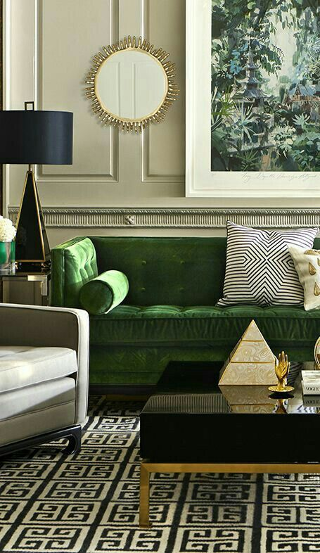 black emerald coffee table with a golden frame by jonathan adler Modern Coffee Table: 23 Best Designs and Ideas for Your Living Room
