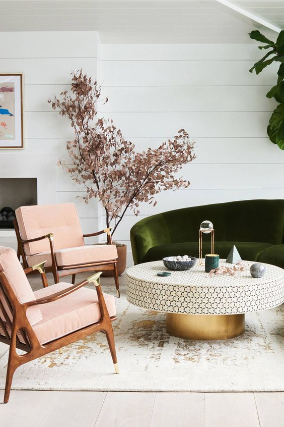 modern circular coffee table with the golden bottom Modern Coffee Table: 23 Best Designs and Ideas for Your Living Room